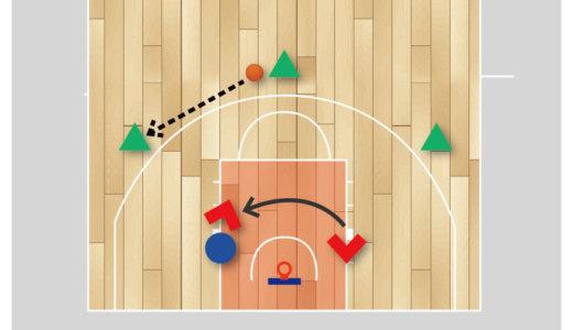 【バスケ 練習メニュー インサイド】逆サイド展開からローポスト1対1